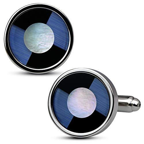 VIILOCK Business Wedding Mix Colorful Onyx Round Framed Cufflinks for Men Mother of Pearl Cuff Links Mens Gift
