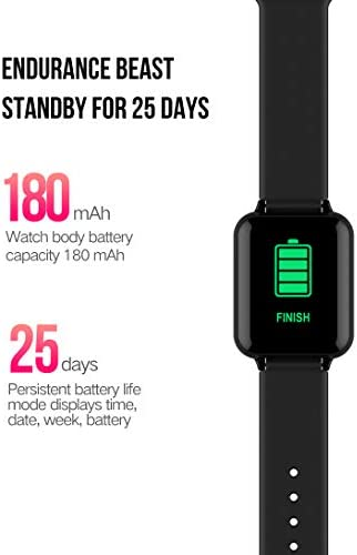 Smart Watch, Fitness Tracker for Android and iOS Phones with Heart Rate & Blood Pressure Monitor, Sleep Monitort, Information Reminder & Step Counter Waterproof Fitness Tracker for Men, Women and Kids 413W 2BAUAMbL