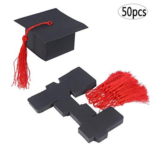 BinaryABC Graduation Candy Treat Boxes Gift Boxes,Graduation Party Favors,Graduation Cap Shaped,50Pcs(Red) -