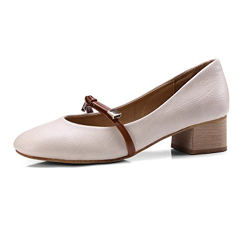 Giy Kvinna Mary Jane Slip-on Loafers Pumpar Skor Tofs Fyrkantig Tå Blockera Häl Klänning Oxford Pump Beige