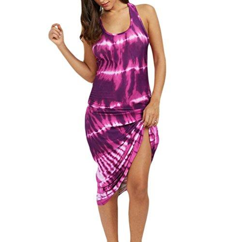 GOVOW Women Sleeveless Bohemian Tie-Dye Illusion Print Racerback Long Tank Beach ()