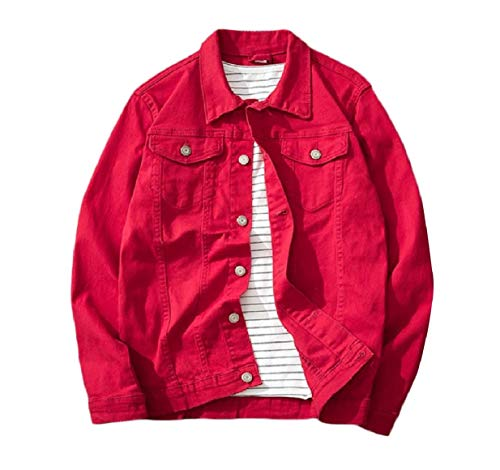 Relaxed VITryst Jean Cowboy Fitness Red Autumn Washed Unlined Mens Jacket TangwHqaB