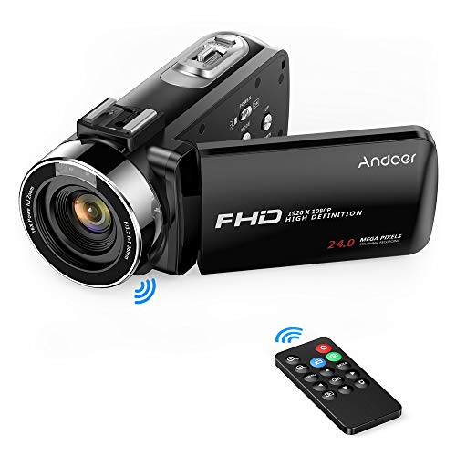 Andoer Video Camera Camcorder, Digital Camera Recorder FHD 1080P Portable Camera Infrared Night Vision 3.0″ Rotating LCD Screen 16X Digital Zoom 24MP with Remote Control, 1 Batterie