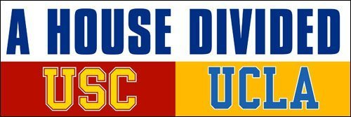 GHaynes Distributing A House Divided USC - UCLA Sticker Decal(los angeles football rival trojans bruins) 3 x 9 - Decal Divided House