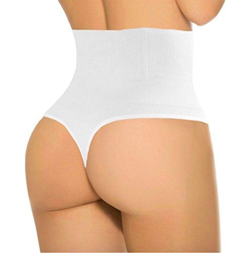 ShaperQueen 102B Thong - Women Waist Cincher Girdle Tummy Slimmer Sexy Thong Panty Shapewear (XL, White)