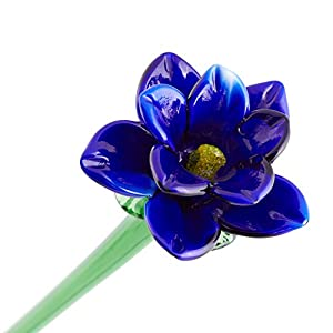 "Blue Glass Tiger Lily Flower, One-of-a-kind. Life Size 20"" long. FREE SHIPPING to the lower 48 when you spend over $35.00 43"