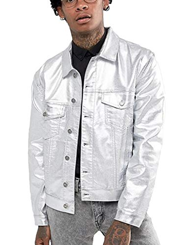 COOFANDY Men's Metallic Trucker Jacket Gold Silver Leather Jacket Motorcycle Biker - Motorcycle Metallic Jacket Leather
