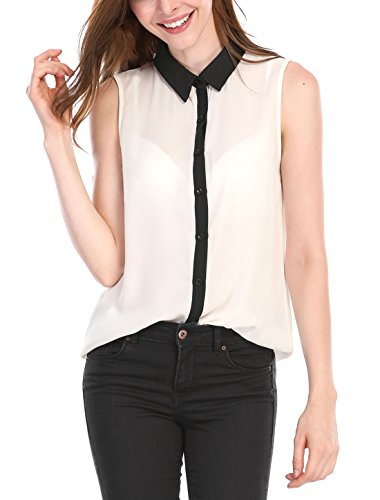 Allegra K Women's Contrast Color Button Placket Sleeveless Blouse M White