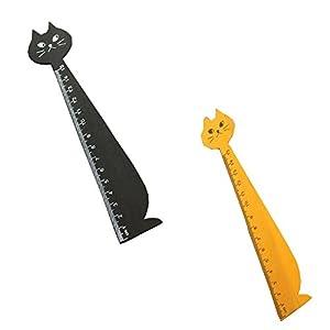 Set of 4 ZAKKA Cute Kitty Rulers Wooden Rulers 15Cm Measuring Rulers,Brown/Black