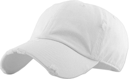 KBETHOS Vintage Washed Distressed Cotton Dad Hat Baseball Cap Adjustable Polo Trucker Unisex Style Headwear (Vintage) White Adjustable