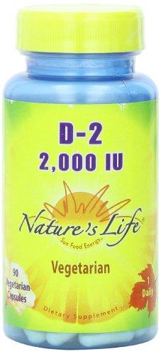 Nature's Life D-2 Veg Capsules, Ergocalciferol, 2000 IU, 90 Count