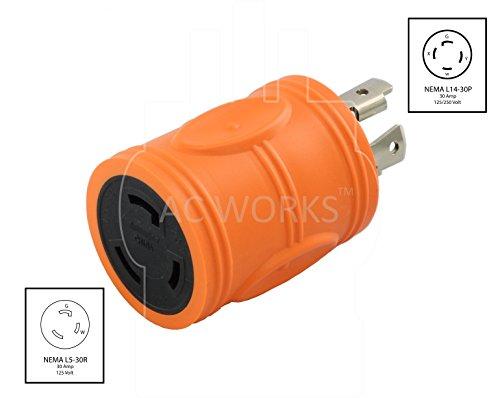 AC WORKS [ADL1430L530] Locking Adapter L14-30P 30A 125/250Volt 4-Prong Male Plug to L5-30R 3-Prong 30A 125Volt Locking Adapter by AC WORKS (Image #1)
