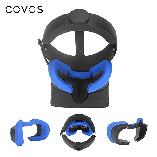 Covos VR Face Cover for Oculus Rift S Silicone Cover Mask, Protective Face Cover Mask, Rift S VR Cover Sweatproof Waterproof LightProof Anti-Dirty Washable(Blue)