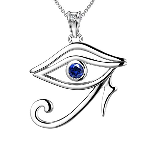 (Besilver 925 Sterling Silver Egypt Eye of Horus Necklace Ancient Egyptian Talisman Evil Eye Symbol of Protection Royal Power Amulet Women Men Jewelry)