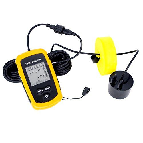 Venterior vt ff001 portable fish finder fishfinder with for Fish finder transducer