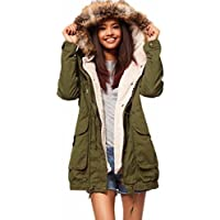 Todaies Women Casual Thicker Overcoat Winter Slim Jacket Long Coat Outwear 2017 (L, Army Green)