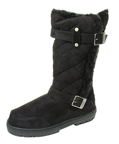 Ella Ladies Womans Festival Winter Snow Comfy Flat Ankle Knee Calf High Fur Lined Hard Sole Boots Sizes 3 4 5 6 7 8 UK Black Buckle Biker Quilted gGq6UTgf