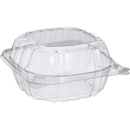 Dart Solo C57PST1-50 Small Clear Plastic Hinged Food Container 6x6 for Sandwich Salad Party Favor Cake Piece (Pack of - Sliced Shell
