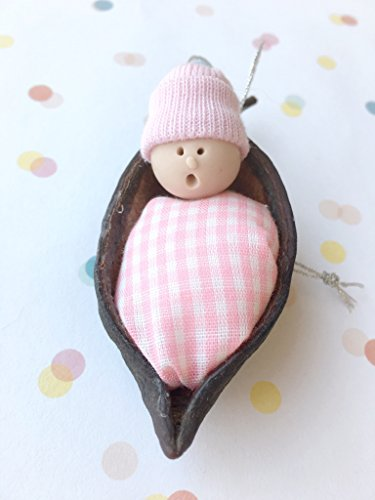 Pink and White Baby Girl in a Pea Pod Christmas Ornament Decoration