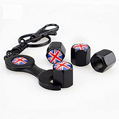 Flypc Mini Cooper Union Jack British Flag with 4pcs Tire Valve Stem Caps +Keychain Set Accessories Decal Parts for BMW Mini Cooper R55 R56 R57 R58 R60 R61 F55 F56: Automotive