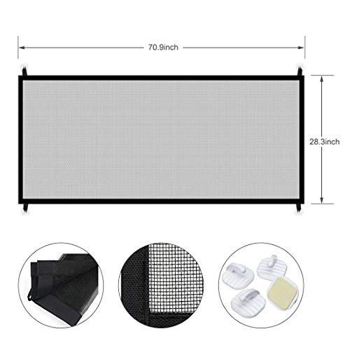 70.9''x28.3''Magic Gate for Dogs, Pet Gate,Magic Gate Portable Folding mesh gate Safe Guard Isolated Gauze Indoor and Outdoor Safety Gate Install Anywhere for Dogs by kensonic (Image #1)