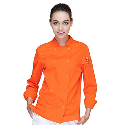 Cheflife Colored Chef Uniforms Long Sleeve Coat for Women Orange by Cheflife