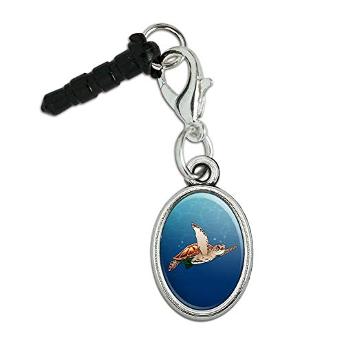 GRAPHICS & MORE Sea Turtle Swimming in Ocean Mobile Cell Phone Headphone Jack Anti-Dust Oval Charm fits iPhone iPod Galaxy