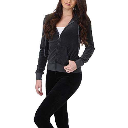 Zip Juicy Couture (Juicy Couture Black Label Womens Robertson Velour Hooded Track Jacket Gray XS)