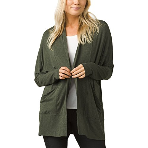 (prAna Foundation wrap Long Sleeve Tops, Forest Green Heather, X-Small)