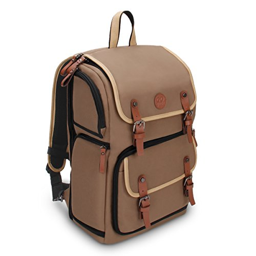 GOgroove Full-Size DSLR Photography Backpack Case (Tan) for Camera and Laptop with 15.6 inch Laptop Space