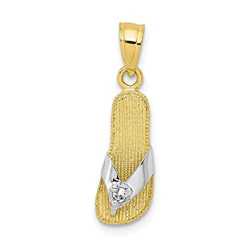10K Yellow Gold CZ Flip Flop Charm Pendant from Roy Rose -