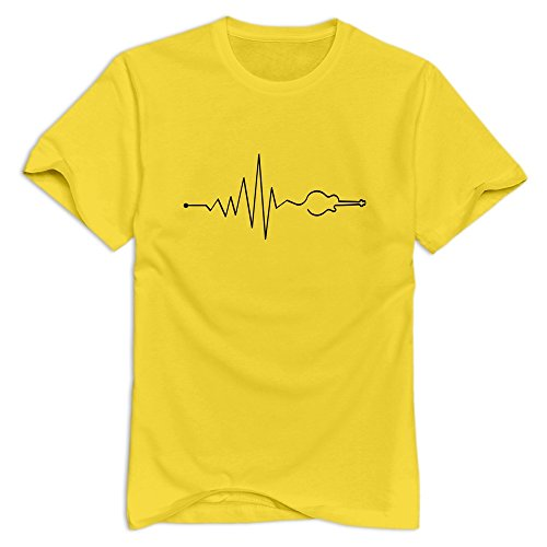 - Xuruw Men's Musik Vibe Guitar 100% Cotton T-Shirt Yellow Size M
