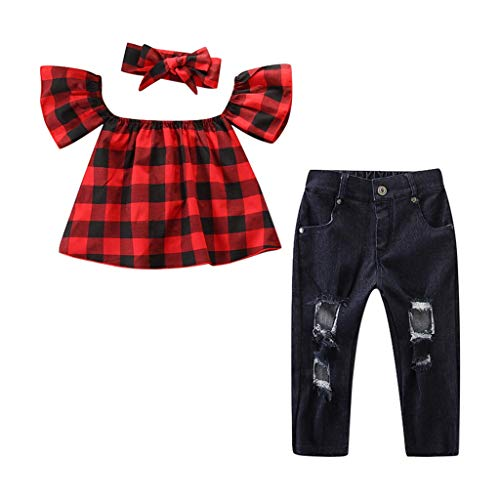 Popular Girl Outfits (Kehen Kid Toddler Girl 3pcs Summer Outfits Ruffles T-Shirt Top+Blue Denim Stretch Jeans Destroy Ripped Pants+Headband (#2 Red,)