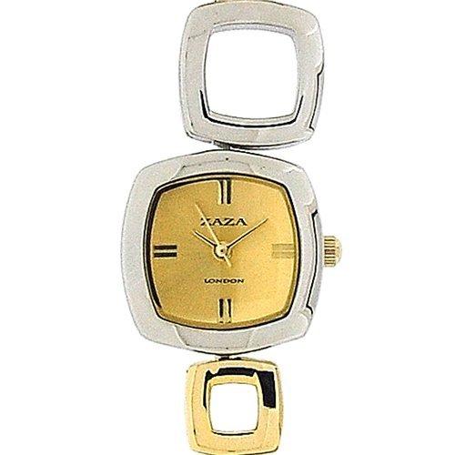 Reloj Brazalete de Zaza London para Mujer con Eslabones Cuadrados Dorados y Plateados LMB62