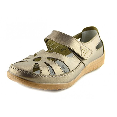 Kick Footwear - Damen Schwarz Leder Casual Komfort Ballerina Schuhe Bronze