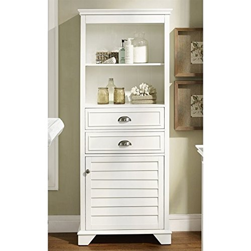 Crosley Furniture Lydia 60-inch Tall Bathroom Cabinet - White