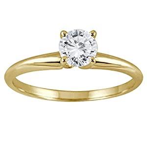 AGS Certfied 1/3 Carat Round Diamond Solitaire Ring in 14K Yellow Gold (K-L Color, I2-I3 Clarity)