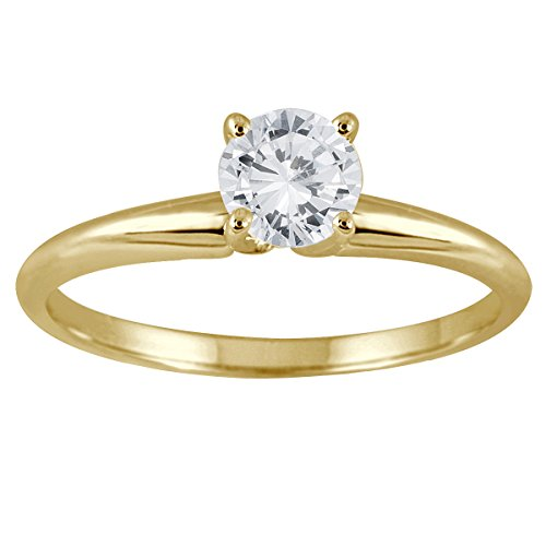 AGS Certfied 1/3 Carat Round Diamond Solitaire Ring in 14K Yellow Gold (K-L Color, I2-I3 (Gold Round Diamond Solitaire Ring)