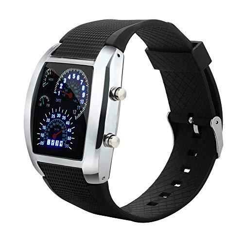Alalaso Men's Fashion LED Light Flash Turbo Speedometer Sports Car Dial Meter Watch(Black)