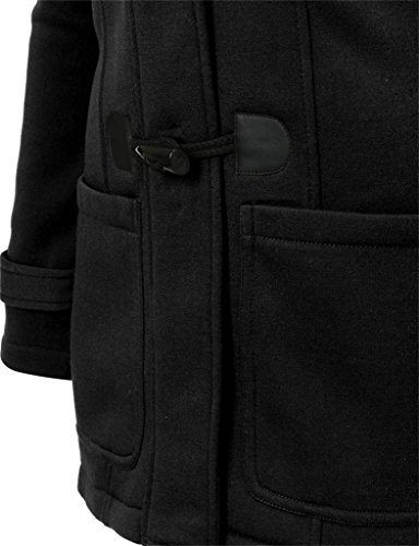 Zestway Womens Warm Casual Wool Blended Classic Hooded Pea Coat Jacket Black XXL