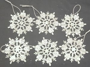 Pack Of 6   9cm Hanging Snowflake Tree Decorations
