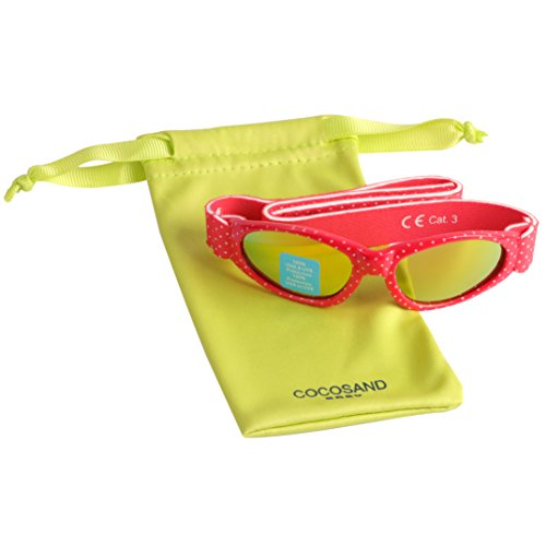 Baby Navigator Sunglasses with UV400 Lens and Adjustable Neoprene Straps & Exciting colors Age: 0-12months. (Strawberry Red with Red Revo) by COCOSAND (Image #6)