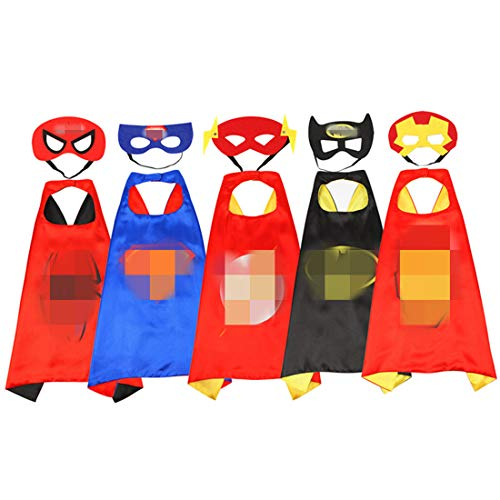 Hero Pattern Dress Up Costumes for Boys and Girls-5 Satin Capes with Felt Masks Comics Cartoon Dress Up Kids Toys Toddler -