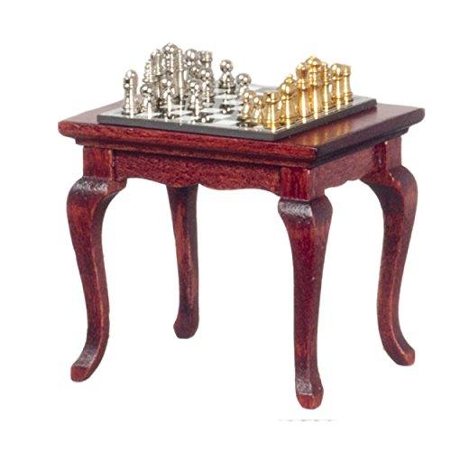Mahogany Set Hutch (Dollhouse Mahogany Table with Chess Set Miniature Study Furniture and Accessory)