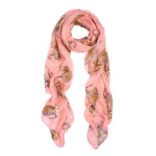 Tiger Scarf - Premium Tiger Animal Print Scarf, Pink
