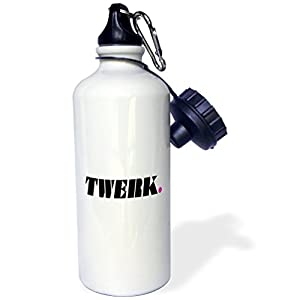 3dRose wb_171875_1 TWERK, black, white, magenta - Sports Water Bottle, 21oz
