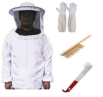 New Beekeeping Bee Keeping Suit Jacket&Gloves& Bee Hive Brush & J Hook Hive Tool Set