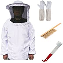 Cheap&Perfect Beekeeping Bee Keeping Suit Jacket&Gloves& Bee Hive Brush & J Hook Hive Tool Set Beekeeping Equipment Beekeeping Tools White