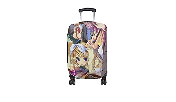 Maxm Hatsune Miku Vocaloid Girl Eyes Blue Pattern Print Travel Luggage Protector Baggage Suitcase Cover Fits 18-21 Inch Luggage