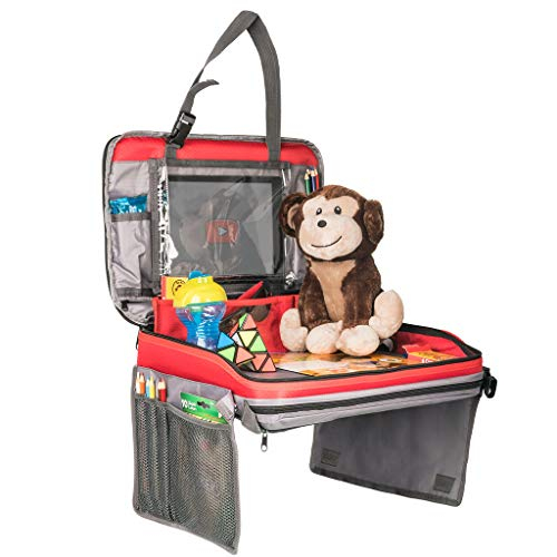 Travel Tray Activity Center for Kids: 4-in-1 Car Seat Organizer with Lap Desk and Tablet Holder, Included Bonus Alphabet Activity Coloring Book and Crayons